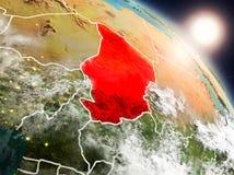 Le Tchad de l'espace pendant le lever de soleil illustration de vecteur
