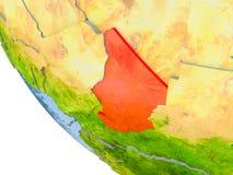 Le Tchad sur le globe Images stock