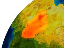 Le Tchad sur le globe Photos libres de droits