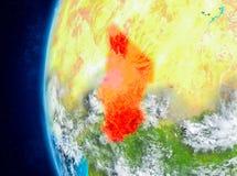 Le Tchad sur terre de l'espace illustration stock