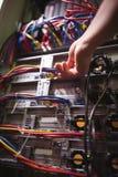 Le technicien branchant le câble de correction dans un support a monté le serveur Photo libre de droits