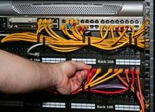 Le technicien branche un câble de réseau Photographie stock