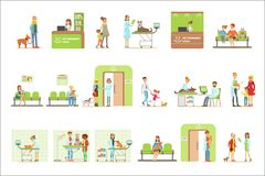 Le tecknad filmtecken som kommer med deras husdjur för veterinärundersökning i veterinär- kliniksamling av illustrationer stock illustrationer