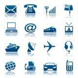 Le Telecomunicazioni & icone del trasporto Fotografia Stock Libera da Diritti