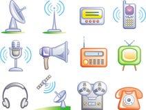 Le Telecomunicazioni - icone di vettore impostate Fotografia Stock Libera da Diritti