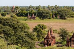 Le tempie e le pagode di Bagan, Myanmar vicino a Mandalay fotografie stock