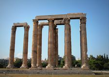 Le temple antique de Zeus olympien à Athènes, Grèce image libre de droits