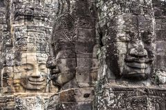 Le temple Bouddha de sourire de Bayon font face à Angkor Wat Siem Reap Cambodia South l'Asie de l'Est Image stock