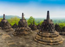 Le temple bouddhiste du 9ème siècle Borobudur, Magelang Regency de Mahayana, près de Yogyakarta, Java Island, Indonésie Image stock