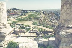 Le temple de Hercule dans la citadelle d'Amman, Jordanie Photo stock