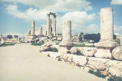 Le temple de Hercule dans la citadelle d'Amman, Jordanie Photo libre de droits