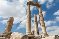 Le temple de Hercule dans la citadelle d'Amman, Jordanie Image stock