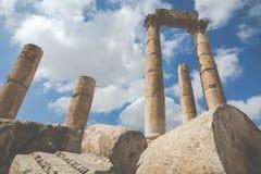 Le temple de Hercule dans la citadelle d'Amman, Jordanie Images stock