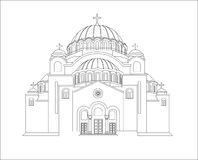 Le temple du saint Sava Illustration de vecteur Schéma barre Photographie stock