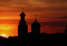 Le temple et le prochain soleil Photos libres de droits