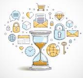 Le temps, c'est de l'argent concept, icônes ensemble, allégorie de sablier de date-butoir de minuterie de montre de sable illustration stock