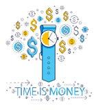 Le temps, c'est de l'argent concept, montre et icônes ensemble, allégorie de main du dollar de date-butoir de minuterie de montre illustration stock