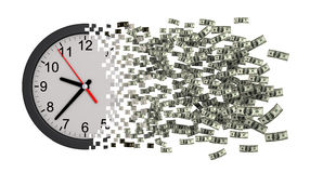 Le temps, c'est de l'argent Horloge tombant en morceaux aux dollars Image libre de droits