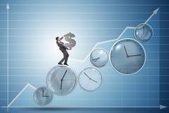 Le temps, c'est de l'argent le concept avec l'homme d'affaires tenant le dollar Images stock