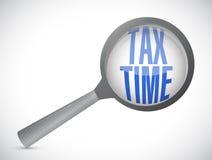 le temps d'impôts magnifient l'illustration en verre de signe Photographie stock libre de droits