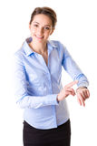 Le temps de contrôle de femme d'affaires, concept de temps, a isolé o Photos libres de droits