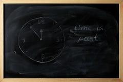 Le temps est passé est écrit sur un tableau noir Photo libre de droits