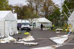 Le tende foranee che sono erette come parte in preparazione della manifestazione della primavera di Belfast dell'annuale prima de Immagini Stock Libere da Diritti