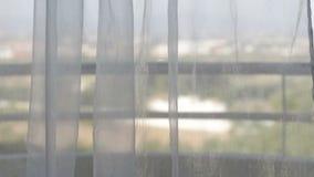 Le tende si muovono dal vento con una vista dalla finestra stock footage