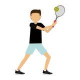 Le tennis de pratique d'athlète masculin a isolé la conception d'icône Photos libres de droits
