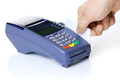 Le terminal avec un par la carte de crédit pur Photographie stock libre de droits