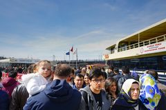 Le terminal du ferry à Istanbul, lumière du jour a serré la scène image libre de droits