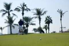 Le terrain de golf au Dubaï photo stock