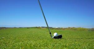 Le terrain de golf et la boule de golf photographie stock libre de droits