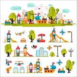 Le terrain de jeu des enfants dessiné dans un style plat Images stock