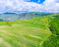 Le terre di agricoltura in montagne Fotografie Stock