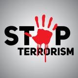 Le terrorisme d'arrêt des textes avec l'empreinte d'une main ensanglantée Image libre de droits