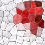 Le tessere pietrose di plastica di marmo della natura strutturano il fondo con i colori bianchi e rossi grigi della malta liquida Fotografia Stock