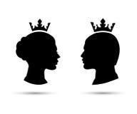 Le teste della regina e di re, re e la regina affrontano il vettore Immagine Stock