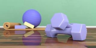 Le teste di legno sul pavimento di legno, pilates della sfuocatura classificano l'attrezzatura illustrazione 3D illustrazione vettoriale
