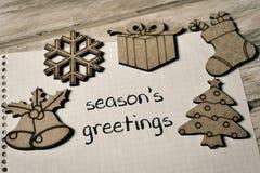 Le texte assaisonne des salutations et quelques ornements de Noël Image libre de droits