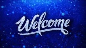 Le texte bleu bienvenu souhaite des salutations de particules, invitation, fond de c?l?bration illustration libre de droits