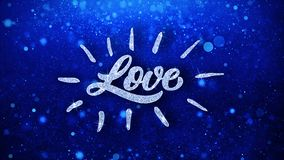 Le texte bleu d'amour souhaite des salutations de particules, invitation, fond de c?l?bration illustration libre de droits