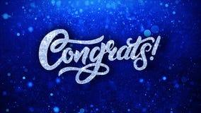 Le texte bleu de clignotement de Congrats souhaite des salutations de particules, invitation, fond de célébration illustration libre de droits