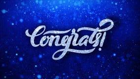 Le texte bleu de clignotement de Congrats souhaite des salutations de particules, invitation, fond de c?l?bration illustration de vecteur