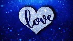 Le texte bleu de coeur d'amour souhaite des salutations de particules, invitation, fond de c?l?bration illustration de vecteur