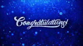 Le texte bleu de félicitations souhaite des salutations de particules, invitation, fond de célébration illustration libre de droits