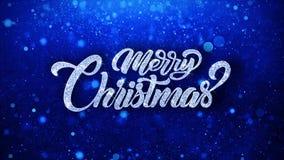 Le texte bleu de Joyeux Noël souhaite des salutations de particules, invitation, fond de célébration illustration de vecteur