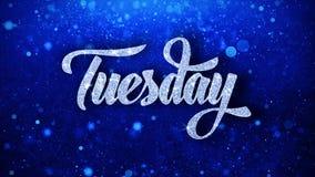 Le texte bleu de mardi souhaite des salutations de particules, invitation, fond de célébration illustration libre de droits