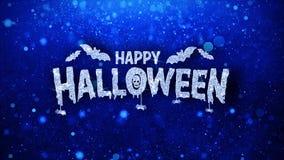 Le texte bleu heureux de Halloween souhaite des salutations de particules, invitation, fond de célébration illustration libre de droits