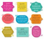 Le texte cite l'ensemble de boîte Éléments colorés de phrase de citation des textes de vecteur illustration stock